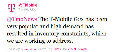 T-Mobile denies removing G2x from shelves, says high demand has created shortages