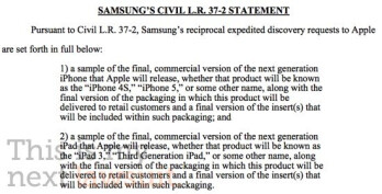 Samsung's discovery motion asks the court to force Apple to turn over sample models of the Apple iPhone 4S/5 and the Apple iPad 3