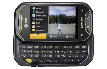 The sporty Pantech Crossover features a 3.1-inch touchscreen and a sliding full-QWERTY keyboard.