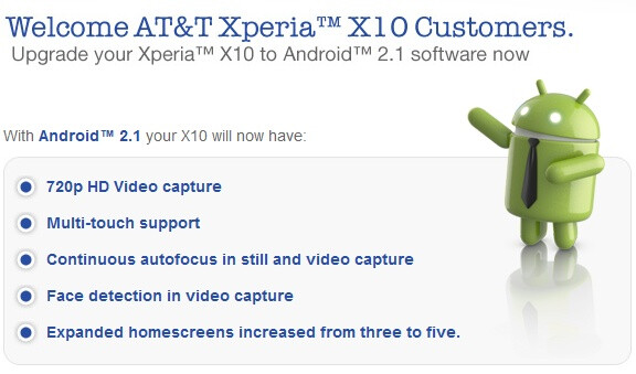 Some of the features coming with the update - AT&T's Xperia X10 goes back to the future, getting updated to Android 2.1