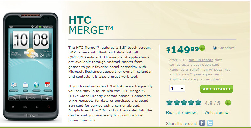 The HTC Merge is now available at U.S. Cellular - U.S. Cellular launches HTC Merge today; LG Genesis to follow on June 9th