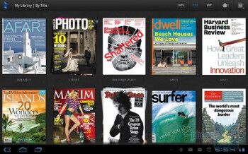 The Zinio digital magazine app interface on Android 3.0 Honeycomb