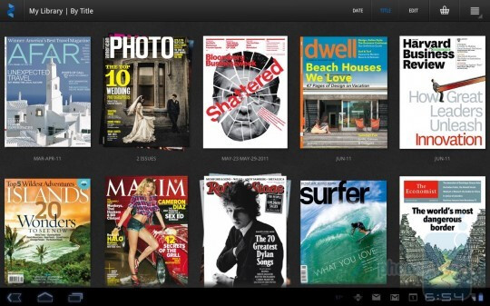 The Zinio digital magazine app interface on Android 3.0 Honeycomb - Zinio tailors the digital editions of 20 000 magazines for Android, 24 issues free till June 15th