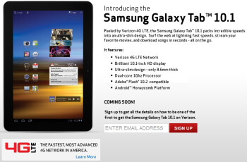 Samsung Galaxy Tab 10.1 with 4G LTE coming to Verizon