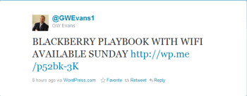 This tweet from Sprint's Marketing Director says to expect Sprint to launch the Wi-Fi version of the BlackBerry PlayBook this Sunday