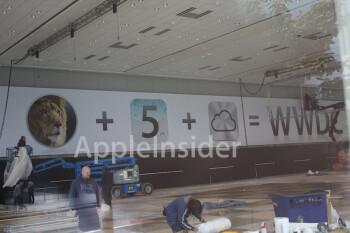 This banner, displaying the new iOS icon for Apple's soon-to-be-introduced iCloud service, hangs over the Moscone Center, home to Apple's WWDC