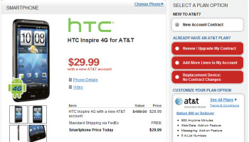 You can now pick up the HTC Inspire 4G in red from Radio Shack for $29.99 on contract