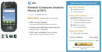 Just launched Pantech Crossover is selling for a penny on Amazon
