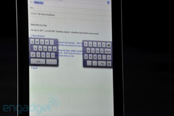 Split-up keyboard for easier thumb typing on a tablet
