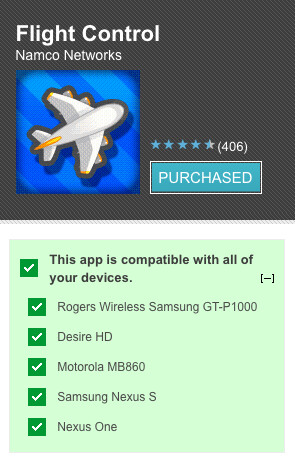 Android Market now shows which handsets are compatible with each app