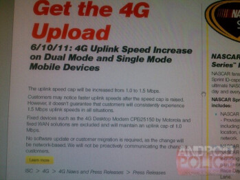 This internal Sprint communications says that the carrier's 4G upload speed cap will rise 50% on June 10th
