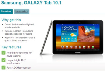 Samsung Galaxy Tab 10.1 for Vodafone UK is listed having a 1.2GHz processor