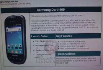This internal T-Mobile document says that the mid-range Samsung Dart is coming on June 15th