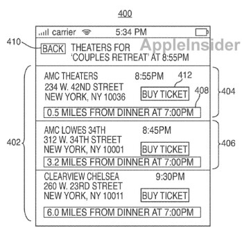 In December 2009, Apple filed for a patent on a location and traffic based movie showtime app