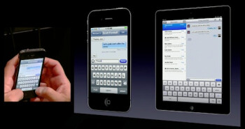iMessage being demonstrated working simultaneously across several iOS devices
