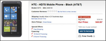 Best Buy jumps at the HTC HD7S by pricing it unbelievably at $50 on-contract