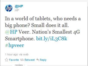 This tweet from HP promotes the pint-sized Veer
