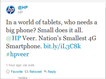 This tweet from HP promotes the pint-sized Veer - HP pays to have its Veer listed on top of the Twitter trend list