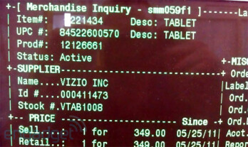 Vizio's tablet in Walmart's system for $349