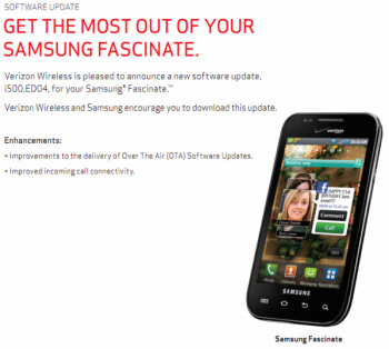 A minor update for the Samsung Fascinate is  coming soon