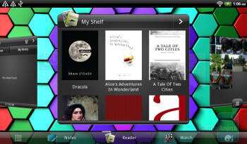 The My Shelf widget works in conjunction with the Reader app