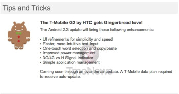 About to be EOL, the T-Mobile G2 should soon receive its Gingerbread update