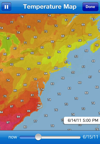 Fahrenheit can draw a temperature map and a cloud radar view of the area