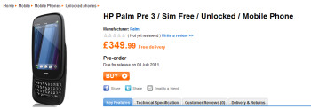 According to Play.com, the HP Pre 3 will launch in the U.K. on July 8th
