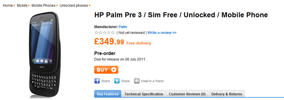According to Play.com, the HP Pre 3 will launch in the U.K. on July 8th - HP Pre 3 to launch July 8th in UK says retailer Play.com