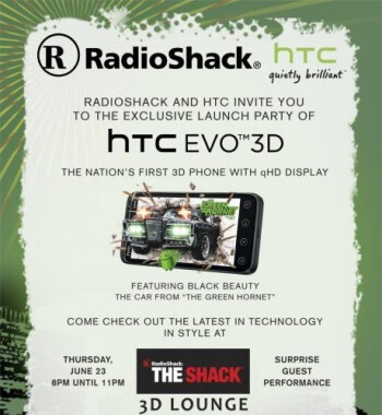 Which Radio Shack will be hosting this party for the HTC EVO 3D on the eve of its launch?