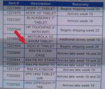 """Leak displays that the Vizio 8"""" Tablet is gearing up to launch with Walmart in 6 weeks"""
