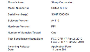 The Sharp Aquos SHI12, with 3D functionality, has two thumbs up from the FCC