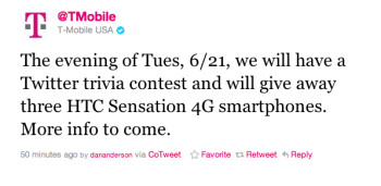 T-Mobile tweeted to announce a Tuesday Trivia contest and will give away three HTC Sensation 4G units