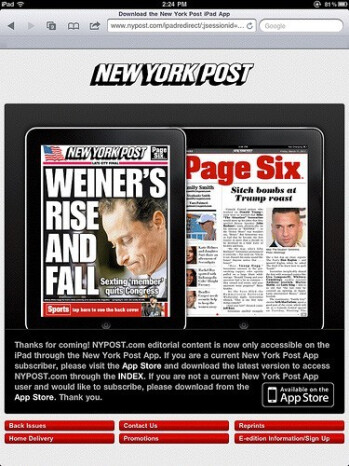 New York Post blocks Apple iPad users from reading its web site without paying for a subscription