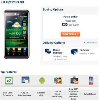Carphone Warehouse will be selling the LG Optimus 3D in the UK starting July 7