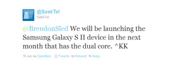 A leaked screenshot (L) reveals a July 14th launch for the Samsung Galaxy S II on Bell, while a tweet (R) from SaskTel confirms a July launch for the same device