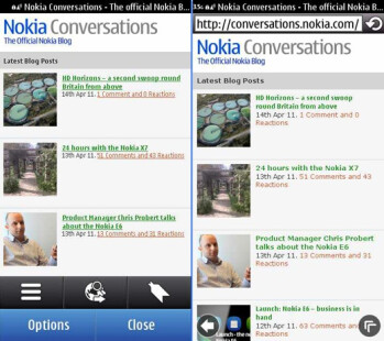 Nokia's Browser 7.3 is on the right