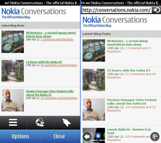 Nokia's Browser 7.3 is on the right - Symbian Anna Review