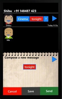 Easy SMS project for Windows Phone makes exchanging text messages easy for illiterate people