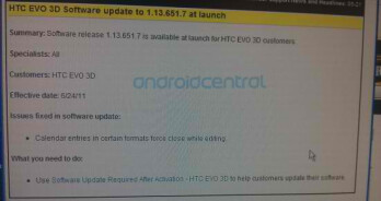 Pre-launch software update for the HTC EVO 3D addresses calendar issue