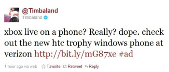 "Timbaland tweets Windows Phone 7 with Xbox Live is ""dope"""