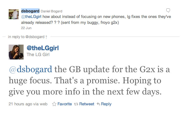The LG Girl says she will have some news for us on in the next few days on the Gingerbread update for the T-Mobile G2x - LG Girl tweets that news is coming soon on the Gingerbread update for the T-Mobile G2x