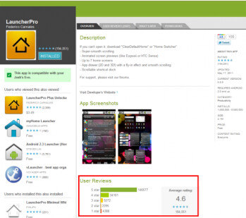 The Android Market now offers a breakdown of star  ratings