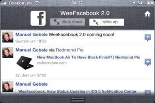 WeeFacebook widget for iOS 5 Notification Center goes 2.0