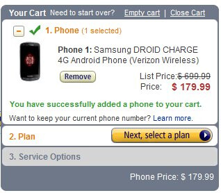 Amazon shaves more off the Samsung Droid Charge - now at $179.99