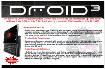 This internal Verizon memo says that the Motrorola DROID 3 will be in stores on July 14th