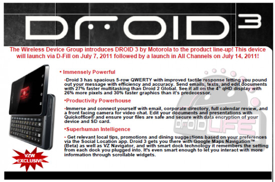 This internal Verizon memo says that the Motrorola DROID 3 will be in stores on July 14th - Motorola DROID 3 set for July 14th launch on Verizon