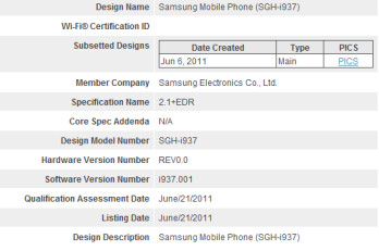 The Samsung SGH i-937 has been spotted on the Bluetooth Sig (L) and on Occasional Gamers list (R), fueling the speculation that the model is a Windows Phone 7 version of the Samsung Galaxy S II