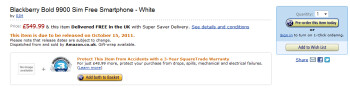Amazon's UK web site already lists the BlackBerry Bold 9900 in white, available October 15th