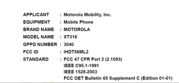The Motorola XT316 came to its second FCC meeting with AT&T frequencies on board